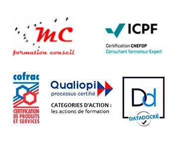 ensemble de logo faisant référence aux certifications de formation